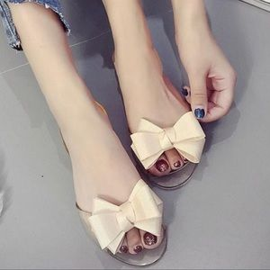 Shoes - Super Soft Jelly Shoes Flats Beige Tan w Bow NEW